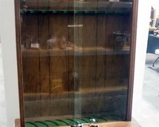 "Illuminated Gun Cabinet, 2 Sliding Glass Doors With Lock & Key, 2-Door Lower Storage Area, Holds 10 Long Arms, Light Powers On, 74.5"" H x 37"" W 13"" D"