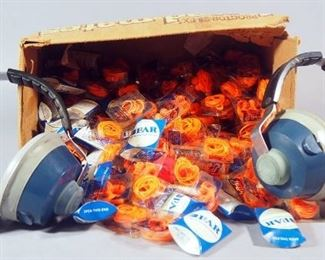 Safeline Model 8713 Over Ear Protectors, Large Qty Of Earplugs Uncounted And More