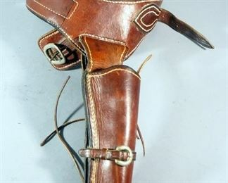 Leather Holster And Belt With 18 Cartridge Loops