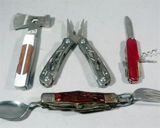 Collection Of Pocket Knives And Tools, Includes Sheffield Axehead Multi-Tool, Gerber Multi-Tool, Camping Knife, And More, Total Qty 5