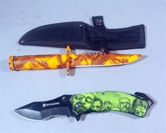 "Outlander Survival Fixed Blade Knife, 4.75"" Blade With Nylon Sheath And Biohazard Zombie 3.5"" Serrated Blade Folding Knife"