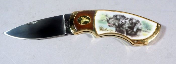 "Franklin Mint Collectors Knife Series 3"" Blade Folding Knife With Image Of 2 Hunting Dogs With Padded Carrying Case"