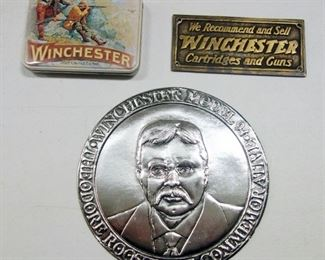 Winchester Collectibles, Includes Brass Winchester Plaque, Collector's Tin, Mug And Model 94 Theodore Roosevelt Commemorative Disk