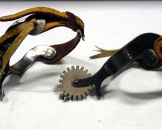 Pair Of Spurs With Leathers, Geometric Designs On Heelbands, Tacks By Rowels