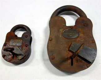 "2 Antique Style Winchester Padlocks, 1 Marked ""Winchester"" 8.5"" H, Other Marked ""Winchester Firearms Factory 76"" 5"" High, Both Have Keys & Still Lock"