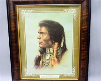 "Bill Hampton (American, 1925-1977) ""Oh, Great Spirit"" Lithograph Print, Framed Under Glass, 21.25"" Wide x 25.25"" High"