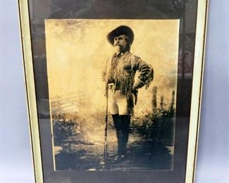 "Print Of Buffalo Bill Cody With His Rifle, Framed Under Glass, 14.25"" Wide x 18"" High"