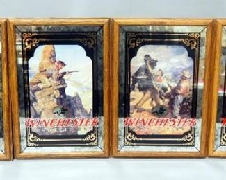"Set Of 4 Winchester Ammunition Bar Mirrors, Each With A Different Old West Image, 13.5"" Wide x 19.5"" High"
