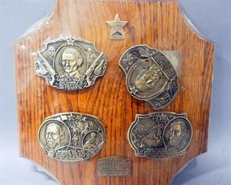 Award Design Medals Texas Rangers Commemorative Belt Buckles Set, The Pioneer Era, 4 Buckles On Frame, Unopened
