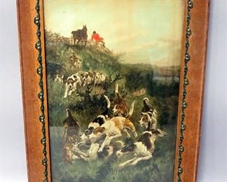 "Print Of A Pack Of Dogs During A Fox Hunt, Framed Under Glass, 14.25"" Wide x 20.25"" High"