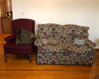 Love Seat, Wing Chairs (1 of 2)