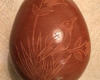 """Signed Corn Moquino Redware pottery, Pueblo, 2.5"""" tall"""