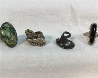 Sterling Silver Rings Vintage 4 Pc https://ctbids.com/#!/description/share/328609