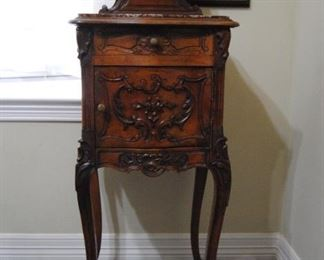 French Victorian Walnut Night Stand with Marble Top. 17W x 14L x 44H.  Very Good Condition!