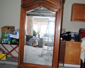 Antique French Armoire with Mirror. 16W x 37L x 93H. Good Condition!
