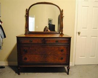 Antique Walnut Dresser with Mirror. 20W x 45L x 67H. Good Condition!