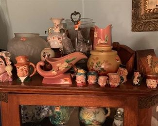 Roseville pottery and toby mugs
