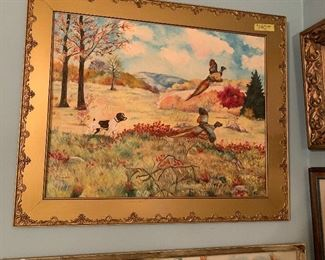 Oil painting featuring pheasants and hunting dog