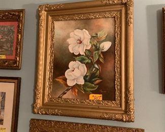 Oil painting of magnolias