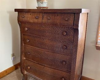 Golden oak Empire-style chest of drawers