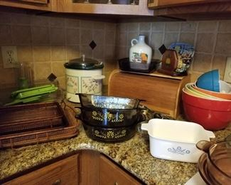 Bread box, corning ware, mixing bowls, crock pot