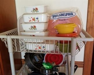 Utility cart, Corning ware, etc.