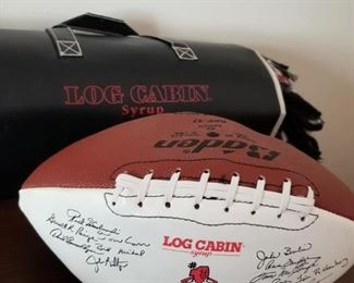Log Cabin syrup signed football