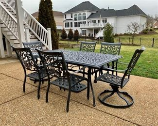 Cast Aluminum Black Patio Dining set includes table, 6 chairs and matching umbrella stand; Captain Chairs swivel - BONUS!