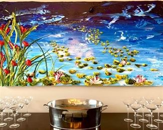 """Commissioned Lily painting by Justin Gaffey - acrylic sculpture artist, palette knife original 72"""" W x 36"""" H"""