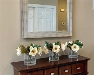 """Brushed Silver Beveled Mirror 37.5"""" W x 48""""H"""
