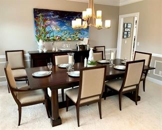 Restoration Hardware Dining Table with extension. Seats up to 12. Restoration Hardware buffet.  12 Chairs by Bernhardt.