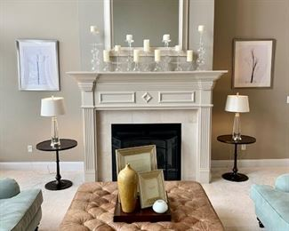 Restoration Hardware Leather Ottoman, Chairs and Sofa; Pottery Barn  accent tables, lamps, decor.