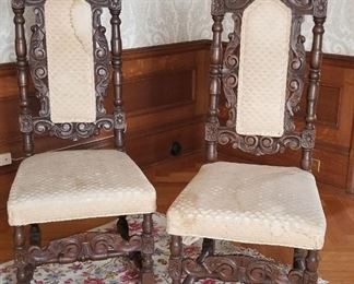 Baker Collectors Edition Barley Twist Upholstered Slipper Chairs