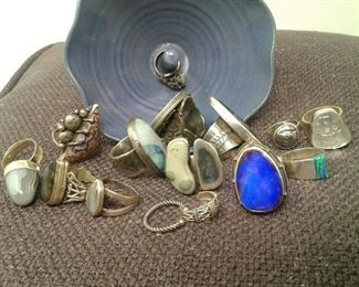 Silver Rings and Ceramic Ring Dish