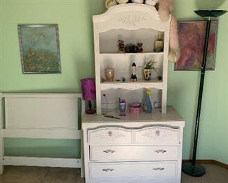 Twin headboard, dresser with hutch