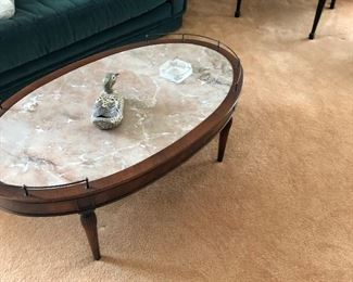 Marble top mahogany coffee table with drawer