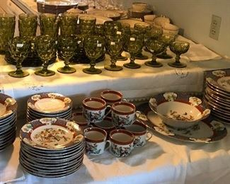 Imari dishes and green  Fostoria green glasses and plates