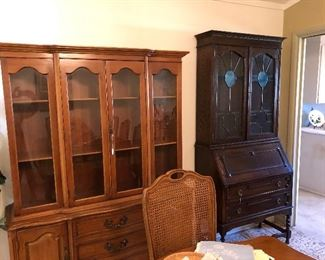 China cabinet and antique Secretary/Bookcase with blue slag glass