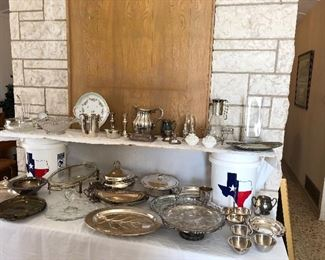 Sterling, silver plate and some crystal serving pieces