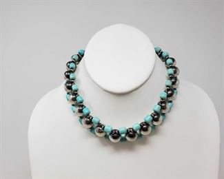 104: 104: Native American Choker with Turquoise and Navajo Beads, 55.7 This native American Turquoise choker with Navajo Beeds weighs approximately 55.7g. Approximately 15 inches long. Value 400-500
