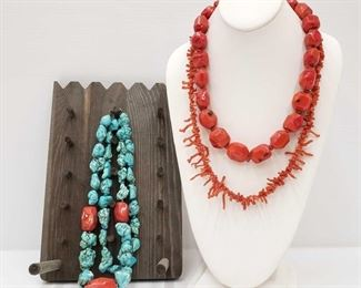 2006: 3 Coral and Turquoise With Sterling Silver Clasp Necklaces Comes With Jewelry Stand 3 Coral and Turquoise With Sterling Silver Clasp Necklaces Comes With Jewelry Stand