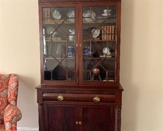Empire Style Breakfront/China Cabinet with Rope Twist and Paw Feet.  Beautiful heirloom piece from Charleston, SC