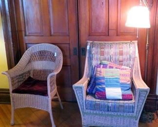 Two vintage/antique wicker chairs.