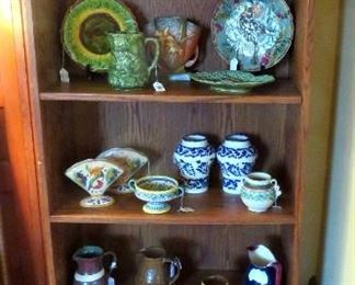 Varied collection of vintage and antique pottery including Majolica, studio potters, Italian Pottery, Arts and Craft Pottery and Roseville.
