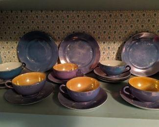 Lustreware Tea Cups and Saucers
