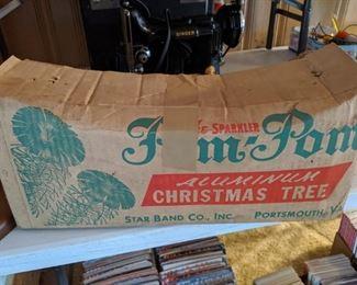 4 Foot Pom Pom Aluminum Christmas Tree with Box