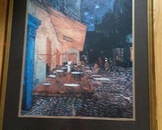 Large framed and matted Van Gogh's Cafe Terrace at Night