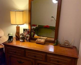 Triple dresser and matching night stand