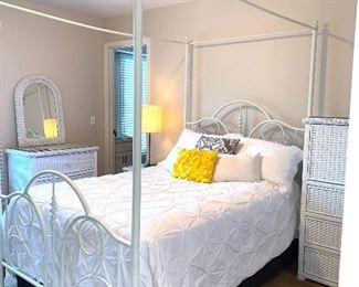 White metal canopy queen bed and linen (mattress not for sale)