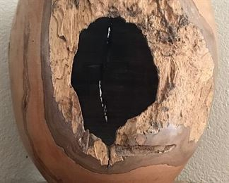 Wood Carved Decorative Vase - Signed
